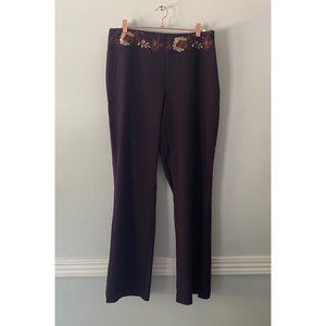 Worthington Pants with Floral Embroidery